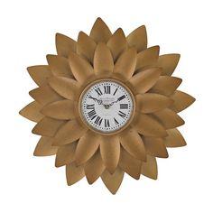 Gold Petal Flower Wall Clock