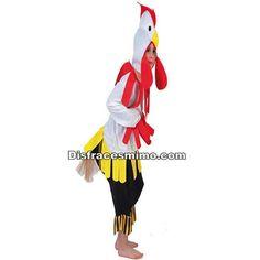 DisfracesMimo, disfraz de gallo blanco niños,los pequeños de la familia serán auténticos animalitos de granja.Con este disfraz de gallo blanco niño.Forma tu familia de corral con la gallina y el pollo.Este disfraz es ideal para tus fiestas temáticas de disfraces de animales para niños infantiles.