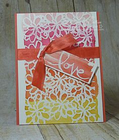 Watercolor Words Love Card - www.dreamingaboutrubberstamps.com - With the Watercolor Words stamp set from Stampin' Up!, you can easily  create a watercolor techniques using watercolor paper, inks and an aqua painter over white embossing powder
