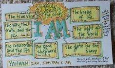 Various awesome examples of memory verse or Bible lesson journaling