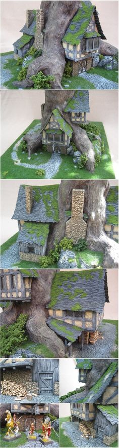 I like the way this house incorporates a small tree ... very cool design and very unique - fair garden and miniatures