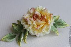 """Купить Роза брошь """" Барокко"""" - желтый, желтая роза, украшение в волосы"""