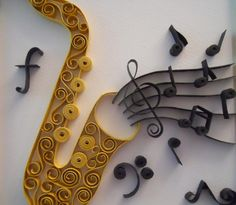 The Saxophone by Itisonlypaper on Etsy Paper Quilling Tutorial, Paper Quilling Designs, Quilling Paper Craft, Quilling Patterns, Paper Crafts, Music Crafts, Music Decor, Saxophone, Arte Quilling