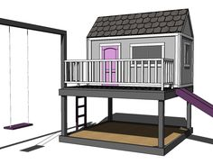 "DIY Playhouse Plan collection is on ana-white.com. Could be made really fancy with faux dormers, flower boxes, pretty shutters, etc, and to sit on the basic deck on the ground. Would love for ""A"" to have a nice playhouse, if only we didn't have to transport it all over the country..."