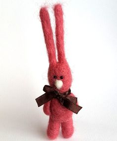Pink Miniature Rabbit Needle felted animal Felt Rabbit by VoDi