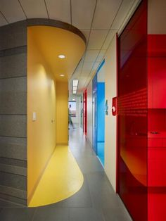 Cool interior feature using color.  This is in a dental office