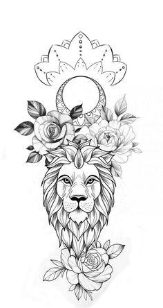 Family Tattoo Designs, Lion Tattoo Design, Sketch Tattoo Design, Floral Tattoo Design, Tattoo Sketches, Tattoo Drawings, Badass Tattoos, Cute Tattoos, Girl Tattoos