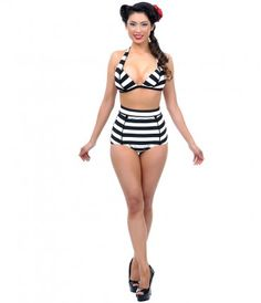 THIS SUIT IS ON PREORDER DUE EARLY MAY.<BR> Show us your stripes! A fabulously flattering pair of supple high wai...Price - $31.00-VaFUZSrB