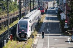 A train on the site of Alstom in Belfort, France, Tuesday. Alstom want to close the site and transfer production elsewhere. The battle presently on to try and save the site.