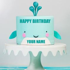 Write Name on Designer Smiling Baby Cake for Birthday.Best Birthday Cake With Name.Cute Face Cake With Name.Baby Boy Special Cake With Custom Text.Create Cake