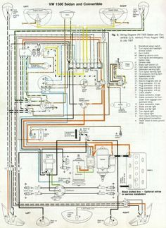 wiring diagram vw beetle sedan and convertible 1961 1965 vw 66 and 67 vw beetle wiring diagram