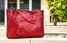 Handcrafted leather bag. Classic, simple style in Ferrari red color. #style #leather