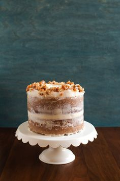 Hazelnut Crunch Pumpkin Cake with Brown Butter Cream Cheese Frosting from @cindyr