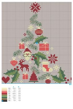 Christmas: a free cross-stitch embroidery chart - - Cross Stitch Christmas Ornaments, Xmas Cross Stitch, Christmas Embroidery, Christmas Cross, Cross Stitch Charts, Cross Stitch Designs, Cross Stitching, Cross Stitch Embroidery, Cross Stitch Patterns