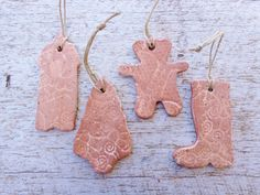 Christmas Xmas ceramic ornaments single or set, outdoor shabby pottery gingerbread cookies, clay gift tags, holiday tree hanging decoration - pinned by pin4etsy.com