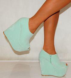 Ladies Womens Suede Mint Green Platform Ankle Boots Peep Toes Wedges High Heels