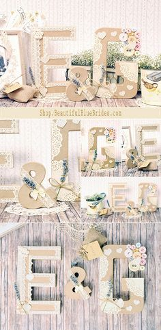 Iniciales de cartón para decorar tu boda. Wedding Initials