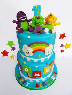2 tier Barney and friends cake, not sure who the original design is by, the picture was supplied by the customer.
