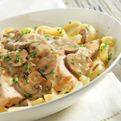 Chicken Marsala with Fettuccine recipe. Slow cooker / thermal cooker. Chicken, mushrooms, Marsala wine (or broth, or apple juice), plus whipping cream for finishing the sauce. No canned soups.