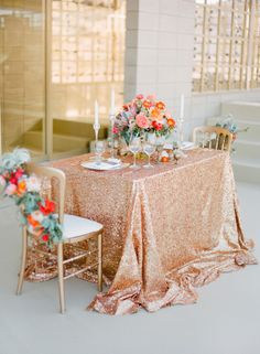 Such a stylish #wedding table for an elopement! From http://stylemepretty.com/gallery/picture/815395  Photo Credit: http://josevillaphoto.com/  Design by http://kristeenlabrotevents.com/  Florals by http://primarypetals.carbonmade.com/