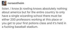 Exactly. America is basically the size of the entirety of Europe - we would definitely need more than one Wizarding school