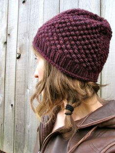 Knitted Hat Beanie in Burgundy Purple