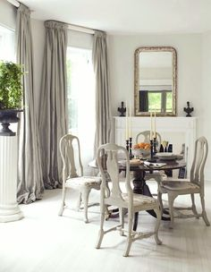 Loi Thai Tone on Tone dining room with white washed painted wood floors