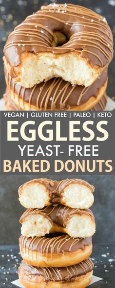 Easy Baked Donut Recipe without yeast, without baking powder.- Easy Baked Donut Recipe without yeast, without baking powder and vegan and gluten free are FOOL-PROOF! 4 ingredients, NO eggs and NO dairy, they take 15 minutes- Keto and Paleo option! Keto Donuts, Healthy Donuts, Gluten Free Donuts, Egg Free Donuts, Dairy Free Gluten Free Desserts, Egg Free Desserts, Vegan Doughnuts, Donuts Donuts, Baked Doughnuts