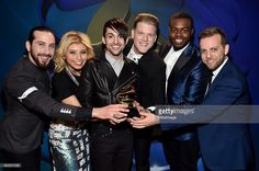 Winners of Best Arrangement, Instrumental Or A Cappella Avi Kaplan, Kirstie Maldonado, Mitch Grass, Scott Hoying, Kevin Olusola, and Ben Bram of Pentatonix onstage at the Premiere Ceremony during The 57th Annual GRAMMY Awards at Nokia Theatre L.A. LIVE on February 8, 2015 in Los Angeles, California.