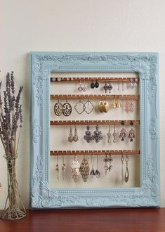 Hanging Earring Organizer, Earring Holder Frame, Custom Earring Holder, Hanging Jewelry Organizer, Creatively Cluttered Earring Display – About jewelry organizer diy Diy Earring Holder, Diy Jewelry Holder, Hanging Jewelry Organizer, Earring Display, Necklace Holder, Earing Organizer, Jewelry Box, Jewelry Accessories, Diy Organizer
