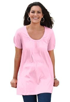 Plus Size Top, in soft knit, the Perfect cotton U-neck tunic image - Pink - For Izzy costume Plus Size Men, Plus Size Tops, Big And Tall Outfits, Plus Size Outfits, What Should I Wear Today, Plus Size Kleidung, Outdoor Outfit, Plus Size Fashion, Clothes For Women