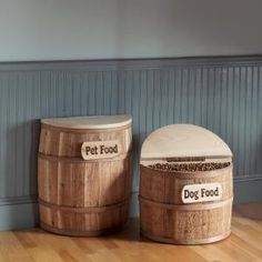 Snacker Barrel Dog Food Storage. Love the barrels and the pea board