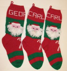 Hensy 3 Pack Small 3D Christmas Stockings Set Santa Snowman Reindeer Xmas Socks Decoration 45 inches