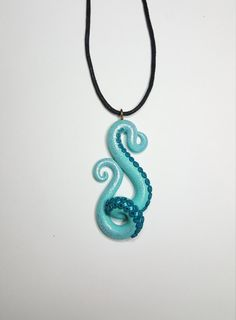 Polymer clay octopus tentacle necklace pendant cute