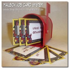 """DIY Mailbox Chore Chart [Tutorial] : """"What kid doesn't like to get mail? Create some job cards to """"mail"""" to your kids each day! Simply pick a few jobs for each kiddo, mail it to them and flip the flag up so they know to check for new chores. Chore System, Chore Cards, Job Chart, Goal Charts, Brochure Paper, Chore Chart Kids, Multiplication For Kids, Charts For Kids, Household Chores"""