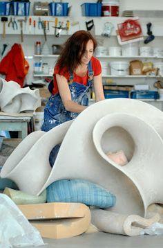 Eva working in her studio in Sweden.