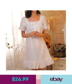 Intimates & Sleep Womens White Sleepwear Lolita Dress Nightgown Cotton Pajama Vintage Retro Style #ebay #Fashion