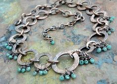 ❥ Azure Fringe Necklace Antiqued Copper by ThePurpleLilyDesigns- love how the dangles are wrapped