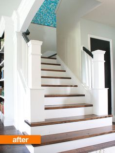 Stair Makeover removing carpet from stairs & book cases in corner for living room Wood Stairs, House Stairs, Attic Stairs, Home Renovation, Home Remodeling, Removing Carpet From Stairs, Staircase Remodel, Staircase Makeover, Staircase Design
