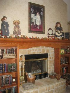 Our hearth, with dolls from Ireland.
