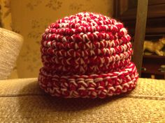 Crochet baby candy cane hat