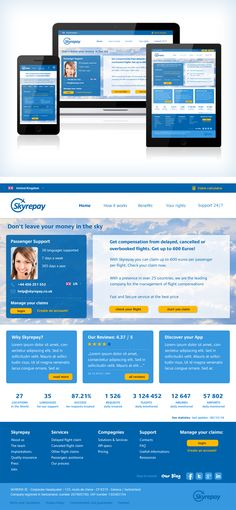 Design for air transport company. Skyrepay provided layout and logo. This design is for contest on 99designs.com complete work on my behance. #webdesign