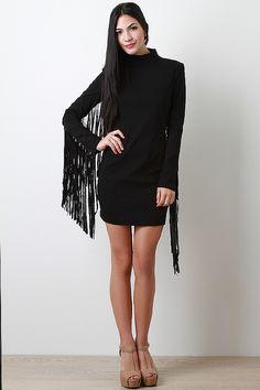 Fringe Back Long Sleeve Dress