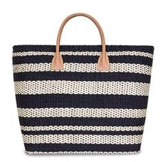 Black & white structured straw shopper with leather handles. Straw Handbags, Leather Handle, Costume Jewelry, Straw Bag, Latest Fashion, Fashion Accessories, Pocket, Tote Bag, Black And White