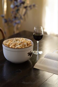You deserve to treat yourself! Indulge in gourmet popcorn and delicious wine for a night of self-care.
