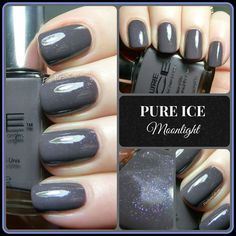 """PURE ICE NAIL POLISH """"MOONLIGHT"""" a gorgeous shade of grey taupe with awesome violet & blue shimmer. Fall Nail Colors."""