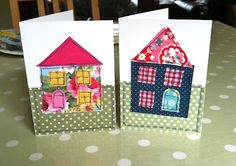 Sew, ray, me: Fabric applique new home cards