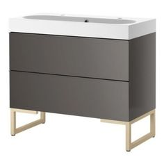 GODMORGON/BRÅVIKEN Sink Cabinet With Two drawers, Gray/Birch - This handsome vanity is so sleek, I can see it living happily in a modern or rustic-industrial guy's bath.