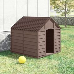 Archie & Oscar Dog House is a robust all weather houses and makes a perfect home for your four-legged friend. You will love the features. Size: H x W x D, Colour: Mocha/Brown Plastic Dog House, Wood Dog House, Insulated Dog House, Dog Pen, The Perfect Dog, Roof Design, Cozy Cottage, Dog Houses, Wood Construction