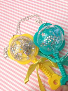 Image of Holographic glitter wand necklace kawaii pastel rattle